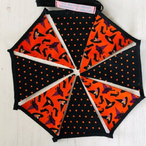 Halloween Witches  Hats and Boots mini cotton bunting (Price inc P&P) 14 flags